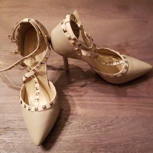 Studded tan heels